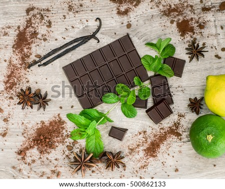 top view of dark chocolate bar with spices and flavor