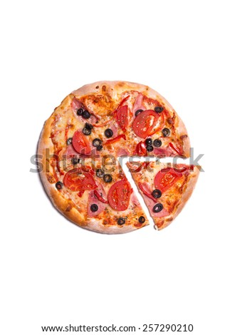 Top view of delicious pizza with ham, tomatoes, and olives, isolated on white background  - stock photo
