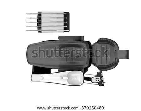 Top view of dentist chair isolated on white background. Clipping path available - stock photo
