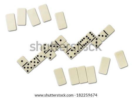 Top view of domino games isolated on white - stock photo