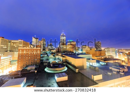 Top view of downtown Indianapolis skyline at twilight - stock photo