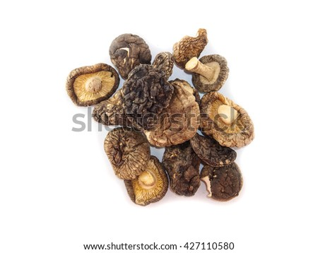 Top view of dried shiitake mushroom group of white background - stock photo
