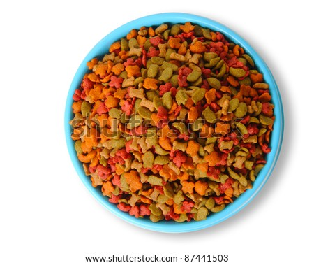 Top view of dry pet food in bowl isolated on white background - stock photo