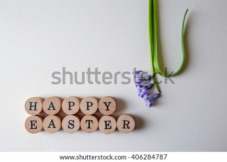 Top view of Easter text and hyacinth fresh flower