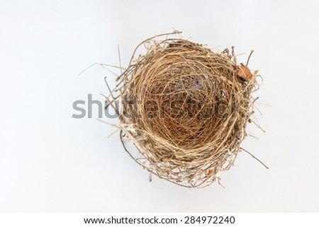 top view of empty bird nest on white background - stock photo