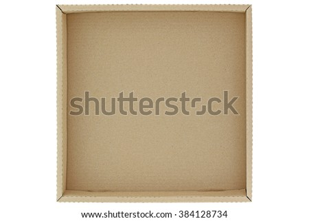 Top view of empty brown cardboard box isolated on white