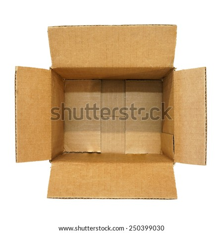 Top view of empty carton box isolated on white background - stock photo