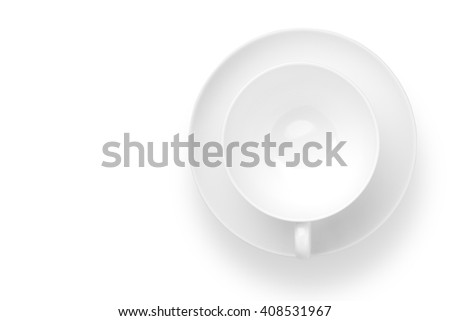Top view of empty Coffee cup on white background