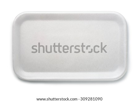Top view of empty foam food tray isolated on white - stock photo