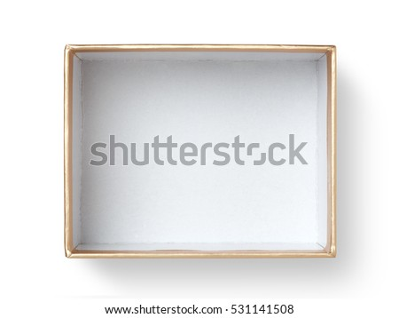 Top view of empty paper box isolated on white background