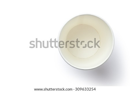 Top view of empty paper cup - stock photo