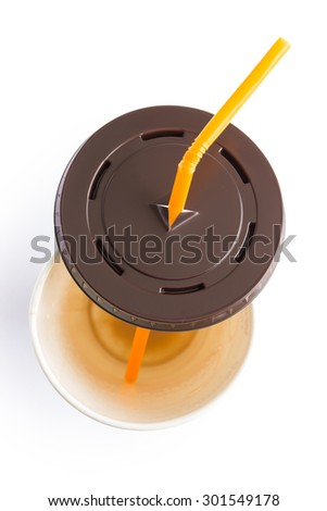 top view of empty paper cup of iced coffee on white background - stock photo