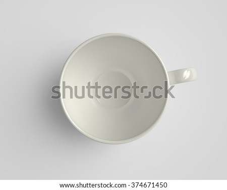 Top view of empty porcelain cup, with clipping path. 3D render