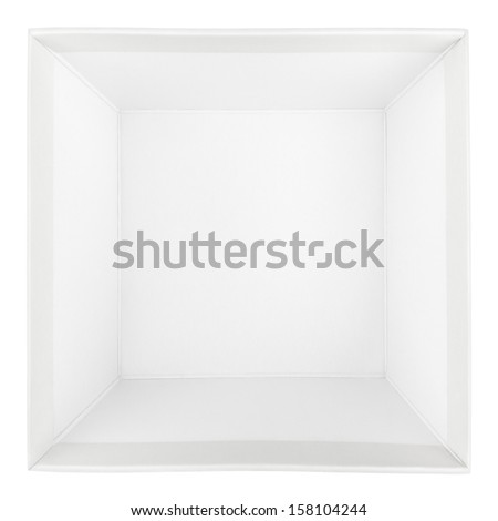 Top view of empty square box isolated on white with clipping path - stock photo