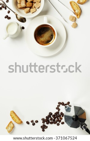 Top view of Espresso coffee, milk and sugar on white. Background with space for text - stock photo