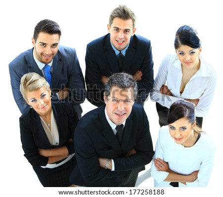 Top view of executives looking up and smiling - stock photo