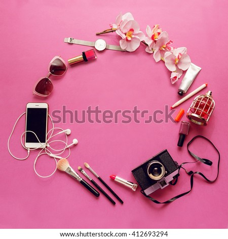 Top view of  fashion stylish  young woman, teenager or girl  accessories. Different objects on pink  background . Bright summer colors.  - stock photo