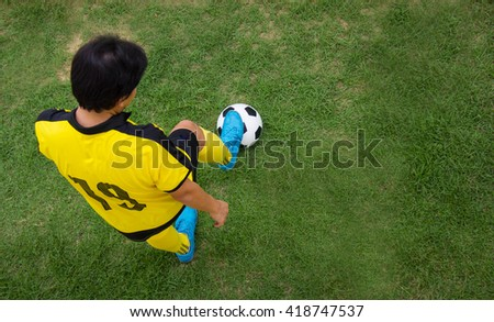 Top View Of Football Player.