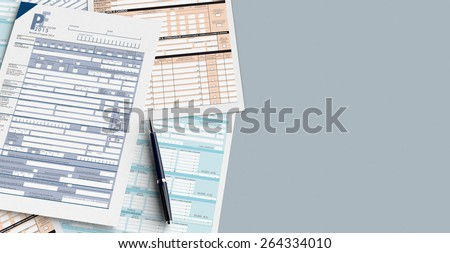 top view of forms for italian taxes with a pen, empty spaces for custom text at the right (3d render) - stock photo