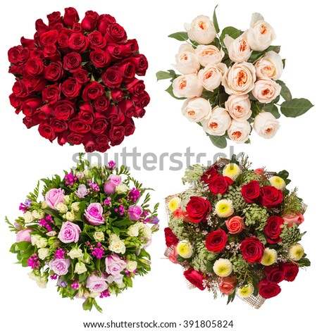 Top view of four colorful flower bouquets  - stock photo