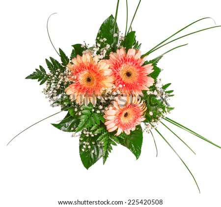 top view of four colorful flower bouquets for Birthday, Wedding, Mothers Day, Easter. - stock photo