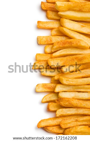 top view of french fries on white background - stock photo