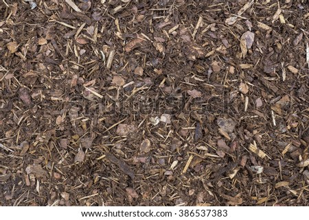 top view of fresh bark mulch in garden during spring