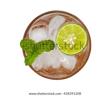Top view of fresh cocktail with lime slice and mint isolated on white background. Mojito cocktail. Virgin mojito. Non-alcoholic mojito mocktail. Margarita cocktail. Fresh lemonade. Honey lemon soda. - stock photo