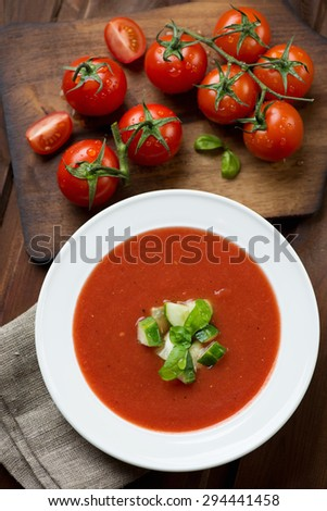 Top view of freshly made gazpacho soup, selective focus - stock photo