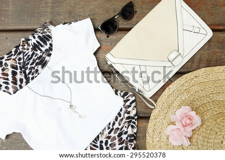 Top view of girly summer outfit - stock photo