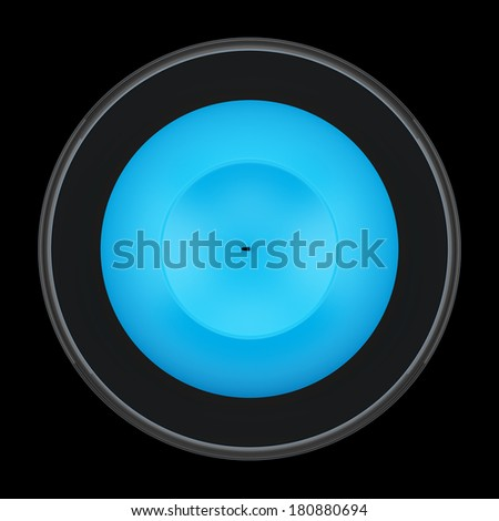 top view of glass candlestick with blue candle isolated on black background