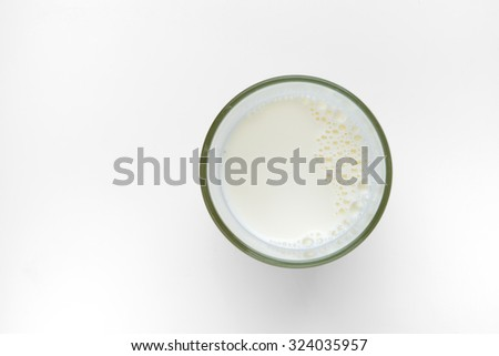 top view of glass milk on white background