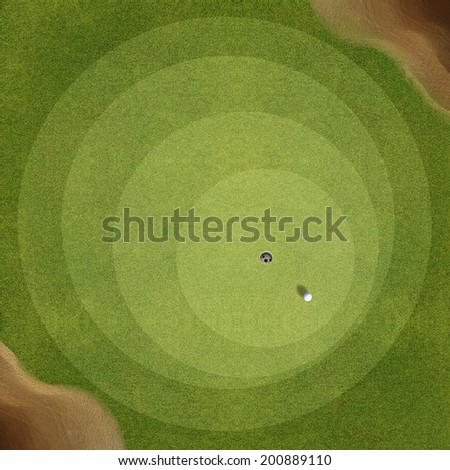 Top view of golf course  - stock photo