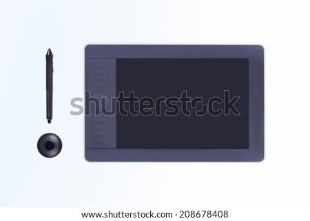 Top view of graphic tablet with pen for illustrators and designers, isolated on white background. - stock photo