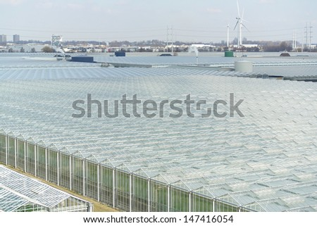 Top view of greenhouses, with lots of glass. - stock photo