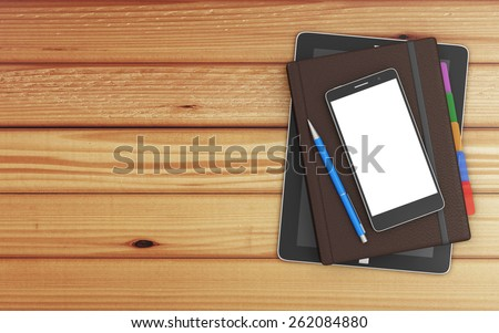 Top View of Group of Office Equipment and Accessories: Tablet PC, Notebook, Modern Smart Phone and Pen on Wooden Table with copy space - stock photo