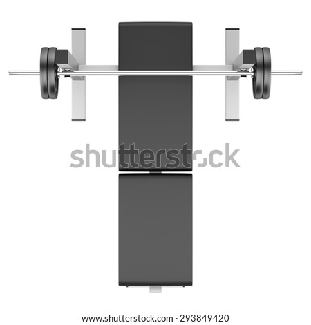 top view of gym flat weight bench with barbell isolated on white background - stock photo