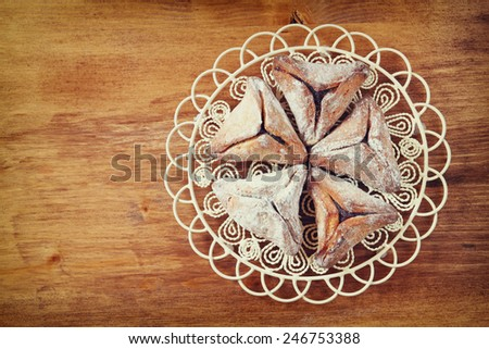 top view of Hamantaschen cookies or hamans ears for Purim celebration (jewish holiday)  - stock photo