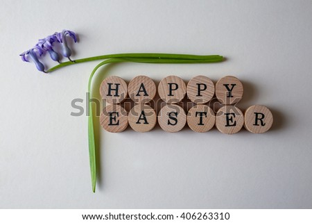 Top view of Happy Easter text and hyacinth fresh flower - stock photo