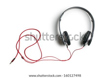 top view of headphones on white background - stock photo