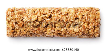 Top View Of Healthy Granola Bar (muesli Or Cereal Bar) Isolated On White  Background