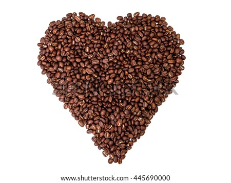 Top view of heart shaped coffee beans isolated on white background