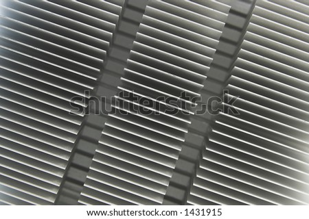 Top view of heatsink at angle - stock photo