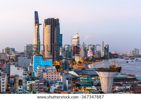 Top view of Ho Chi Minh City (Saigon) in the evening.