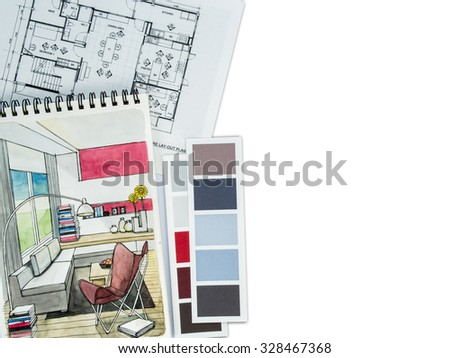 Top view of home decoration and renovation concept/ background and texture - stock photo
