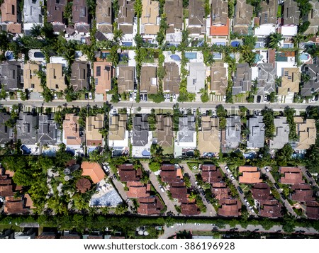 Top View of Houses in a neighborhood area - stock photo