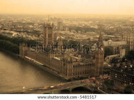 top view of houses of parliament - stock photo