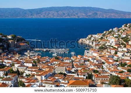 Top view of Hydra island, Greece.