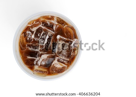 top  view of iced coffee isolated on white