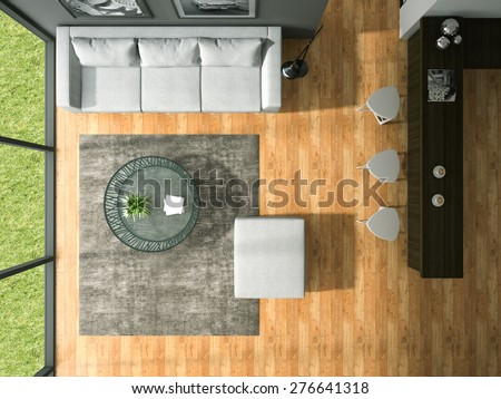 Top view of Interior modern design  room l 3D rendering  - stock photo
